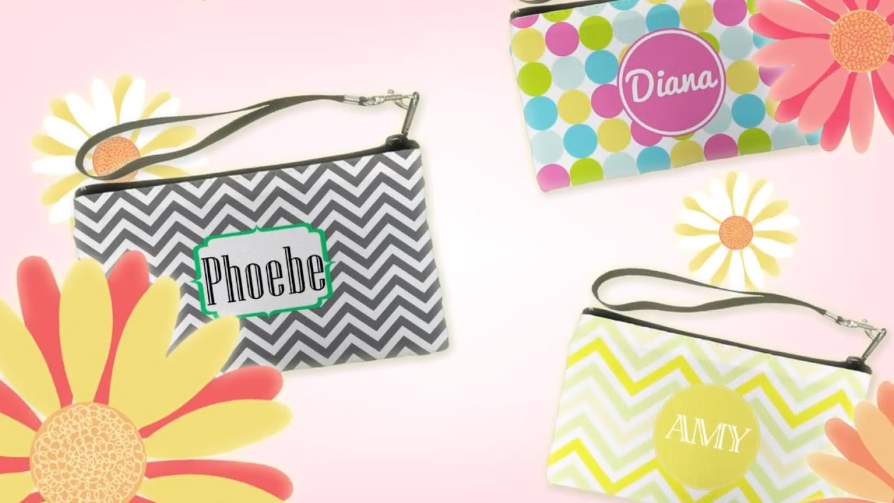 Por Customized Wristlet Personalized Giltter Bridesmaids Clutch