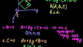 §38 Частные случаи общего уравнения плоскости