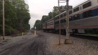 Amtrak P42DC 19 leads lakeshore limited 49 going 110 mph at Morris road Colonie, NY!