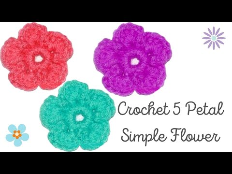 How to Crochet a Simple 5 Petal Flower - Crochet Jewel - YouTube