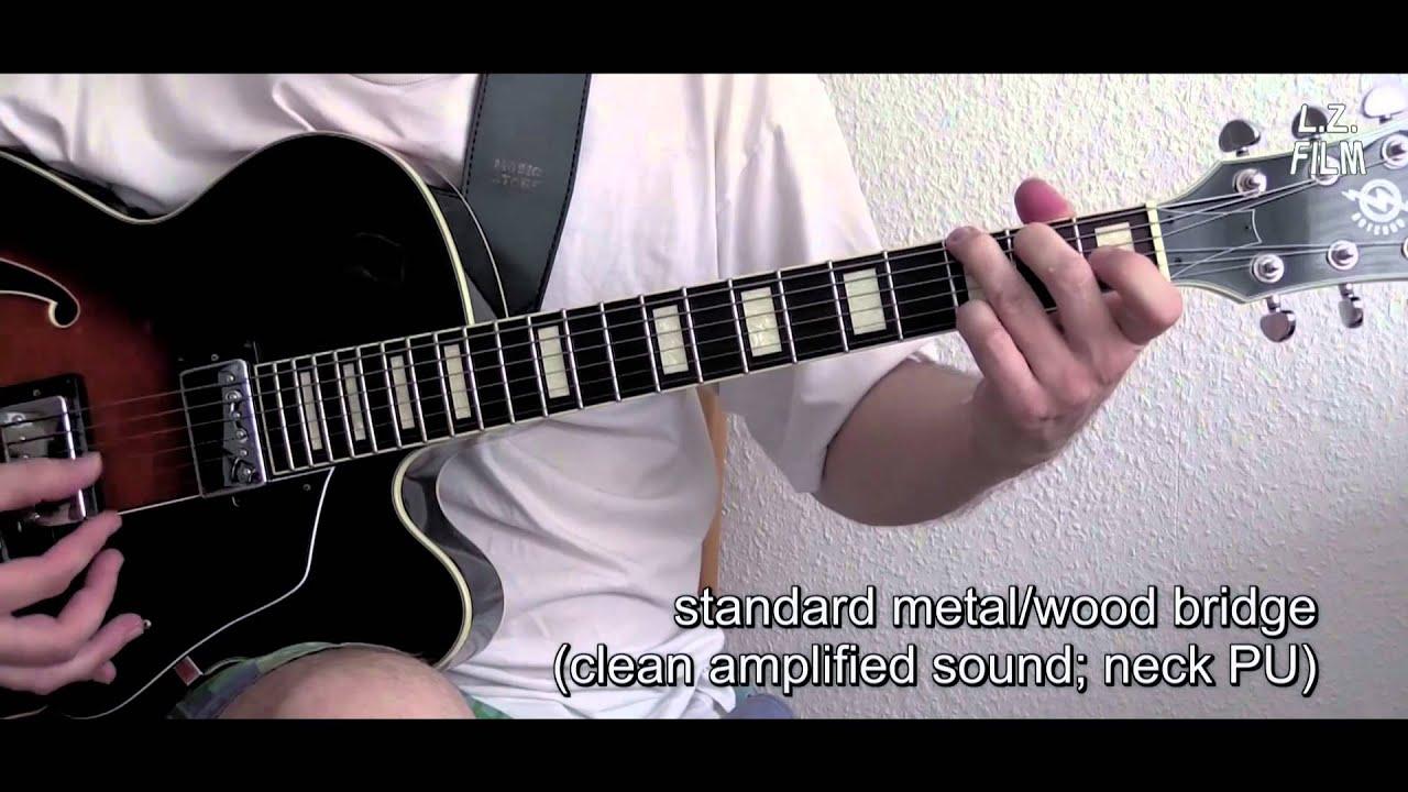 metal wood tom bridge vs pure wood bridge hollow body guitar