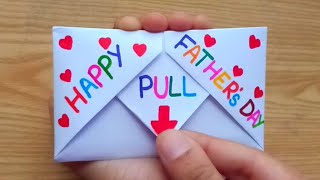 DIY - SURPRISE MESSAGE CARD FOR FATHER'S DAY   Pull Tab Origami Envelope Card   Father's Day Card