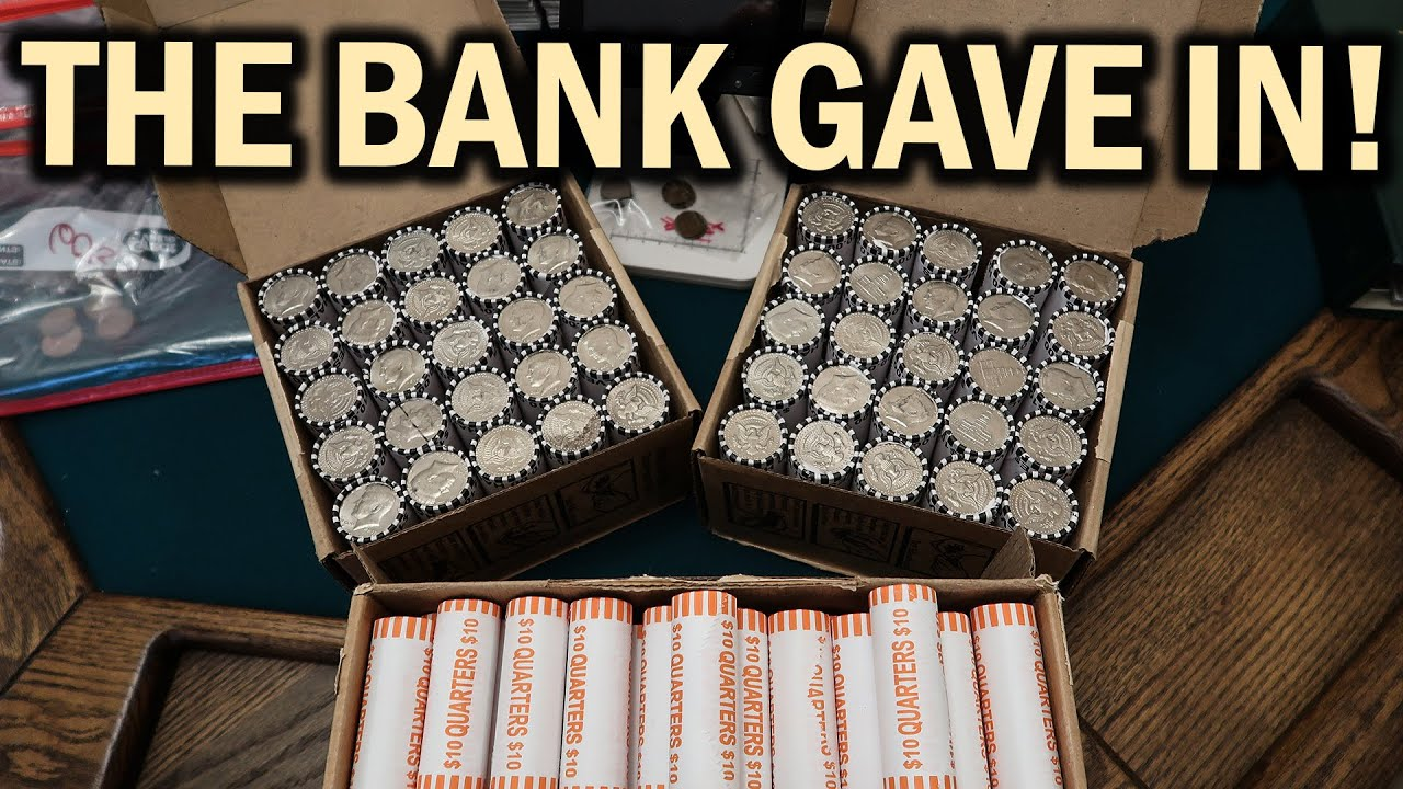 GET SILVER COINS FROM YOUR BANK!! COIN ROLL HUNTING LIVE ...