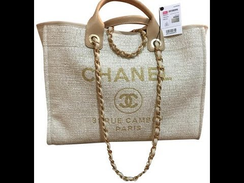 26088370750557 Chanelbags Chanel 2018 Deauville Rue Cambon Tweed Beige Tote review ...