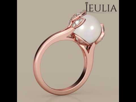 Jeulia Rose Gold Tone Pearl Promise Ring