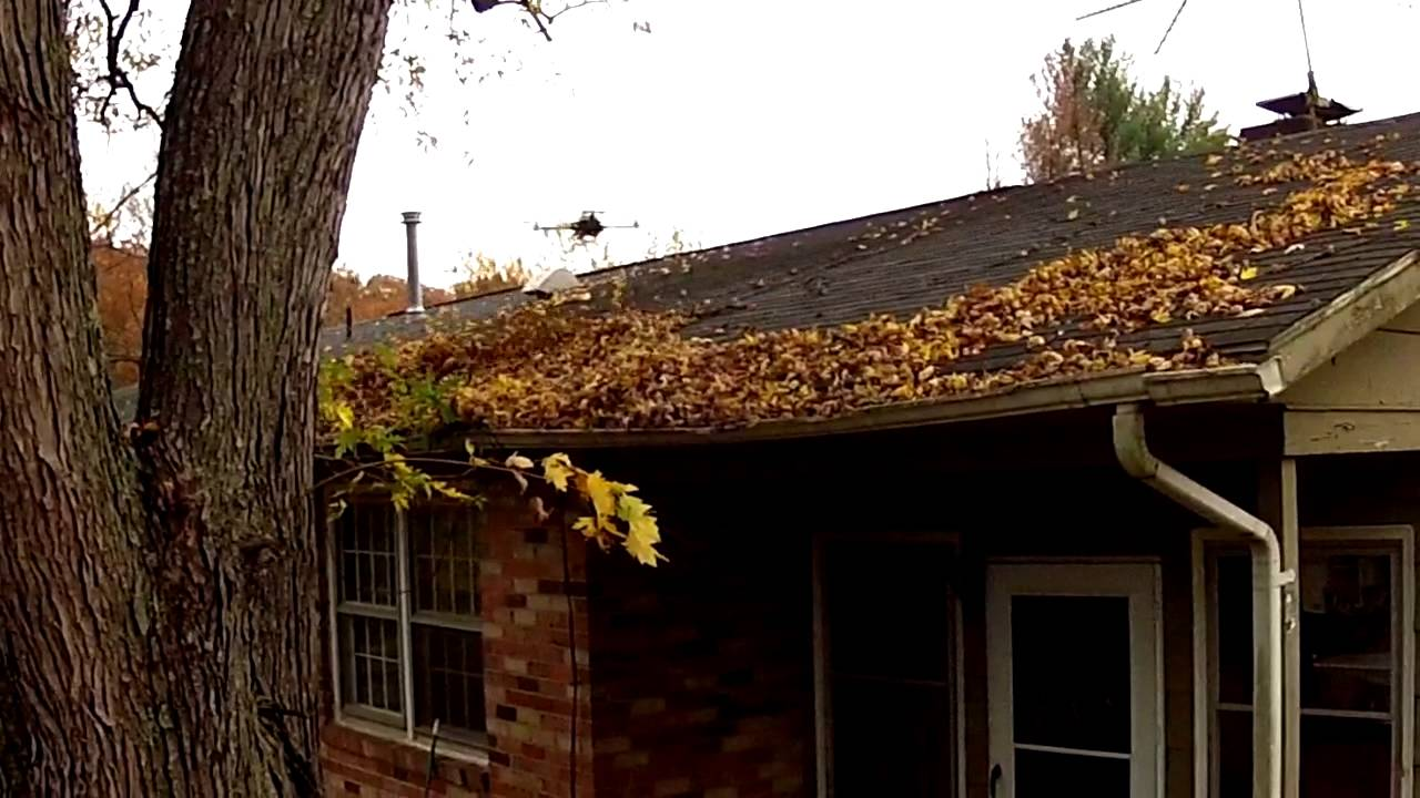 Quadcopter Cleaning Leaves On Roof Youtube
