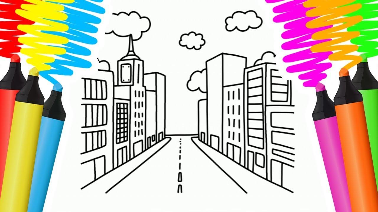 Como Desenhar E Colorir Cidade E Maca Pintar E Aprender Para