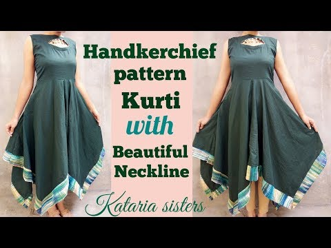 Handkerchief pattern kurti with stylish neck design