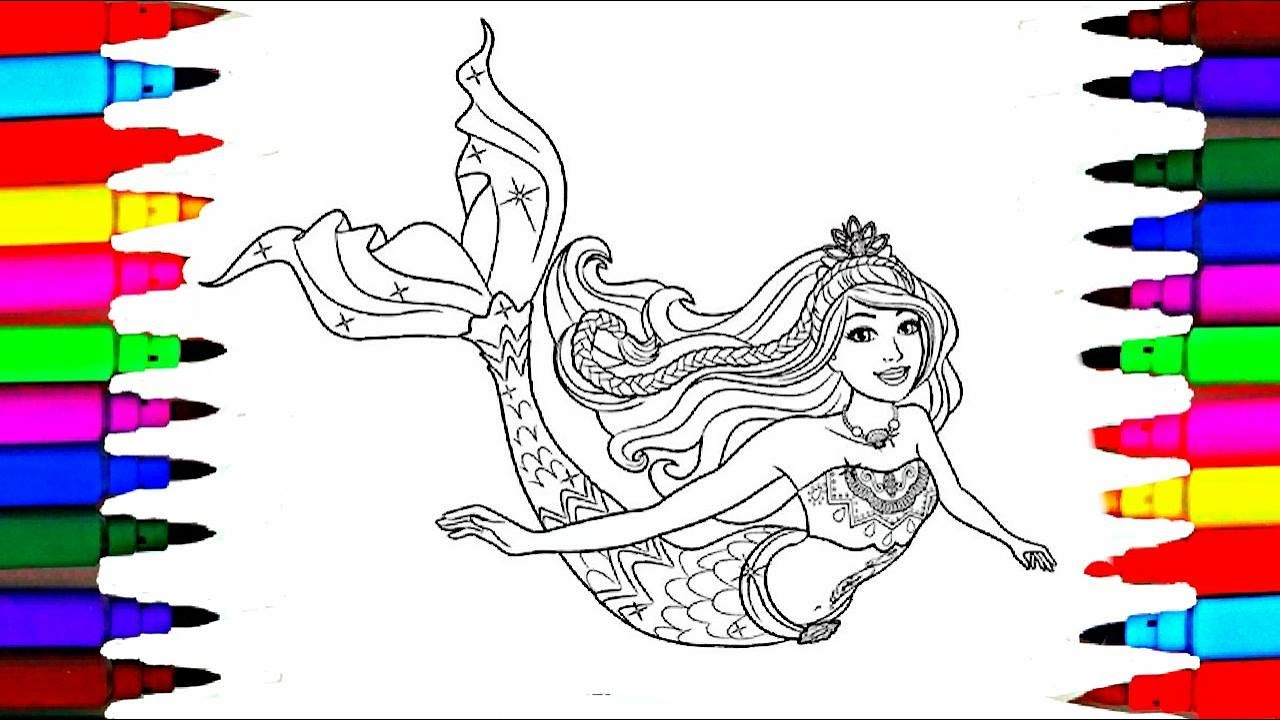 Barbie Dreamtopia Coloring Pages L Barbie Mermaid Drawing