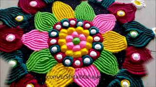 Super Easy and Creative Rangoli Designs Using Fork# Simple Rangoli by Shital Mahaja.
