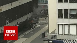 Stockholm lorry rams crowds killing several people - BBC News