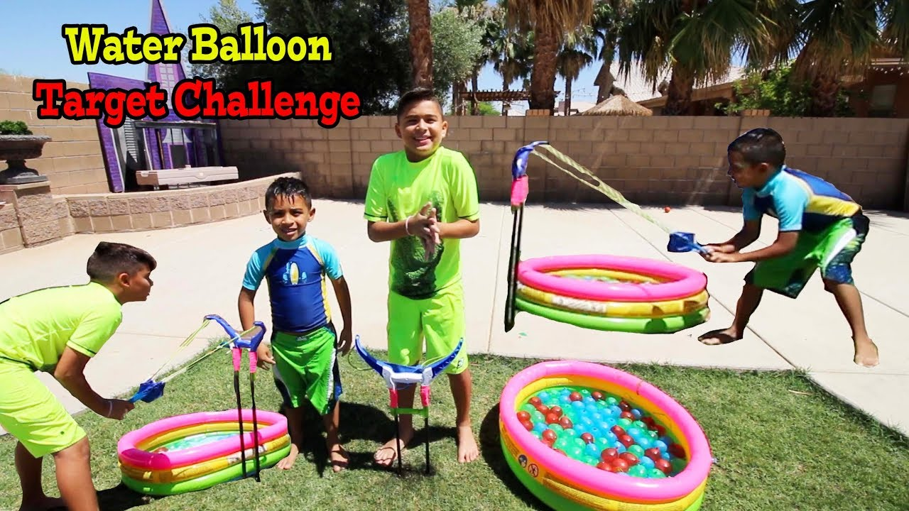 WATER BALLOON TARGET CHALLENGE | Bunch O Balloons Slingshot | Splash Tank