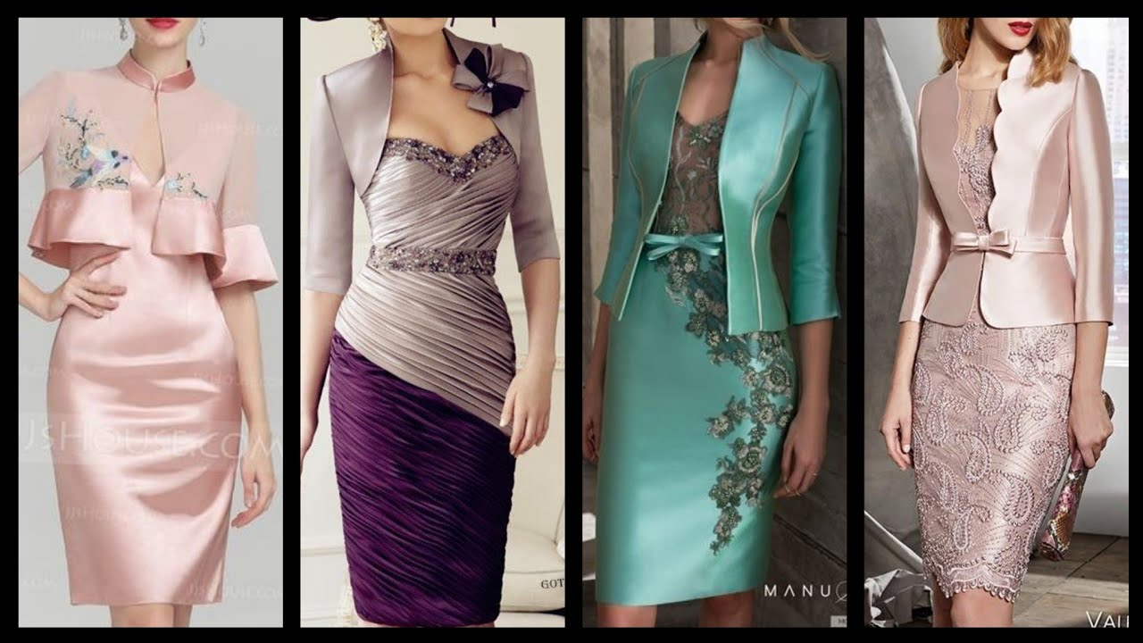 latest mother of the bride dresses most upcoming satin silk bodycon dresses  design with jackets.