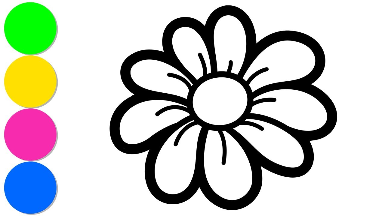 Drawing Flowers Coloring Pages Youtube