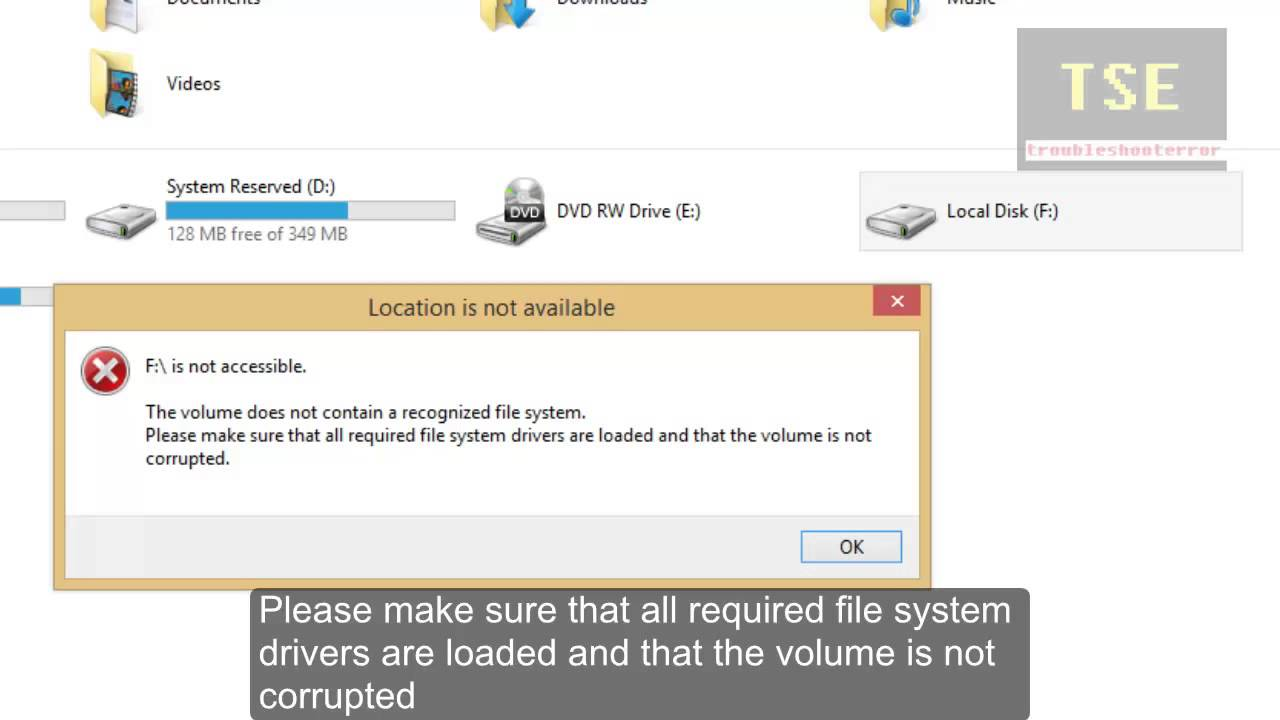 drive not accessible the volume does not contain a recognized file system