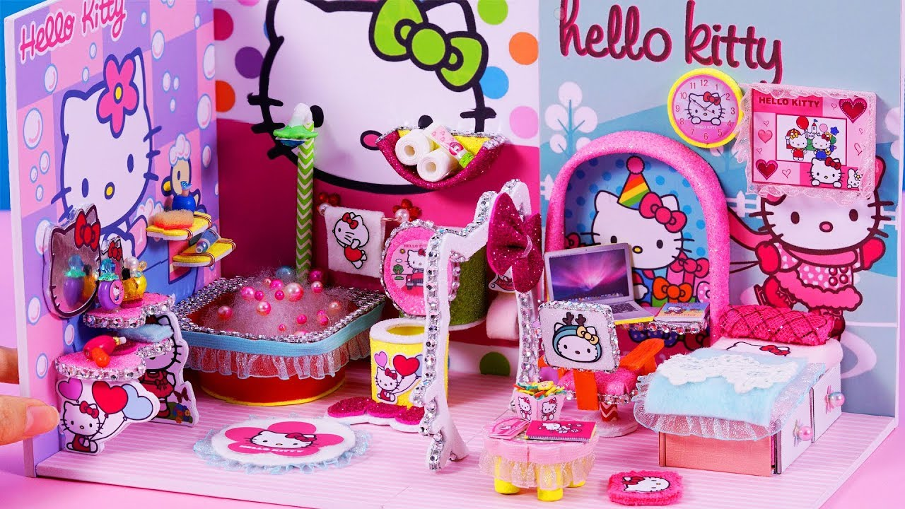 Diy miniature dollhouse bathroom and bedroom hello kitty - Decoration hello kitty chambre bebe ...