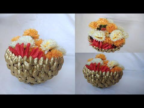 Diy Pista Shell Crafts / Pista Shell Basket / Recycle Pista Shell Basket / Flower Basket