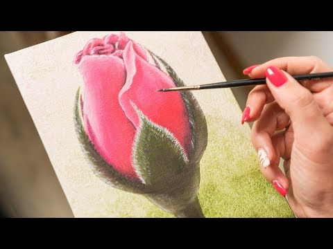 Scarlet Rose Bud - Acrylic painting / Homemade Illustration (4k)