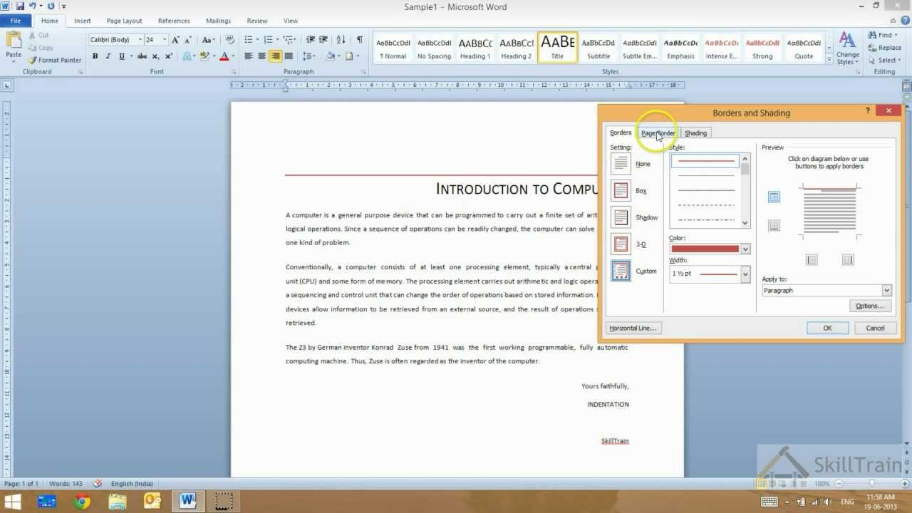 how to add a bottom paragraph border in word 2013