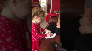 Funny baby wrapping present