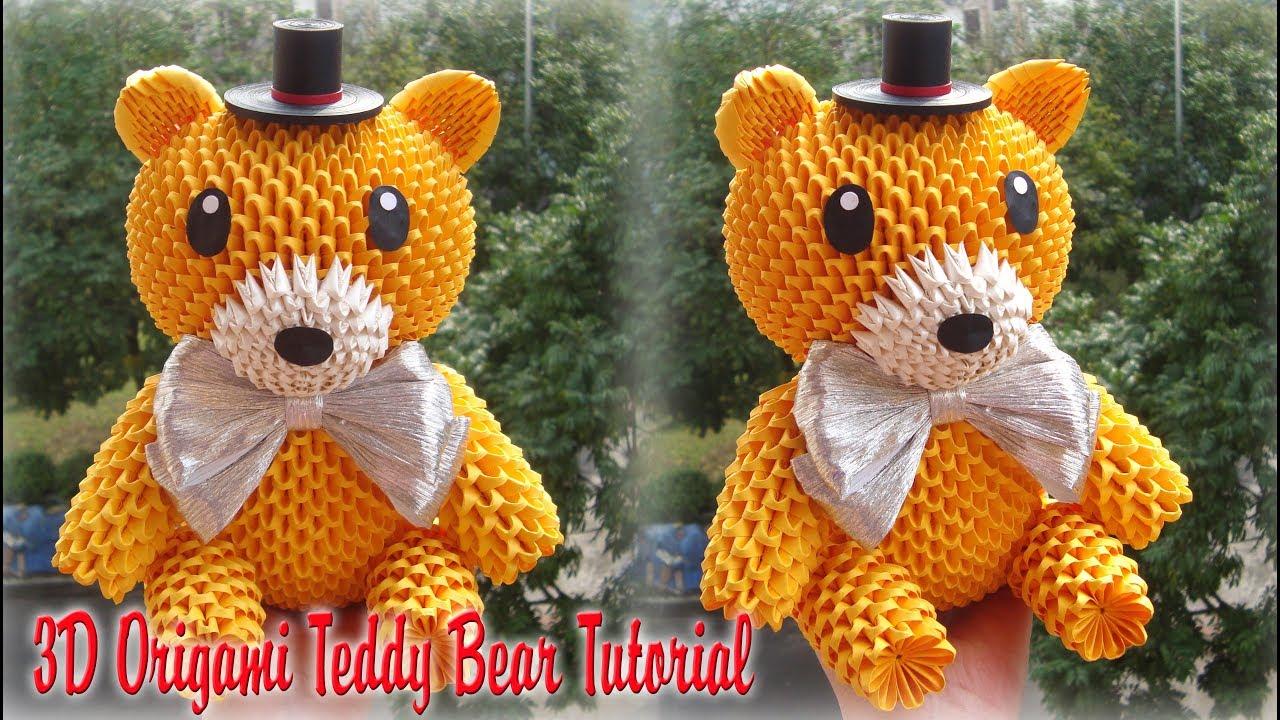 how to make 3d origami teddy bear diy paper teddy bear