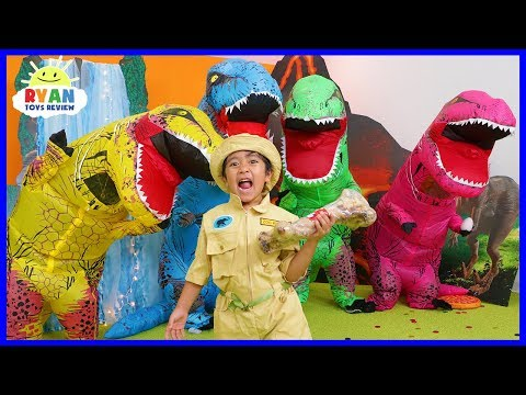 Ryan Pretend Play Rescue Jurassic World Fallen Kingdom Dinosaurs!!!