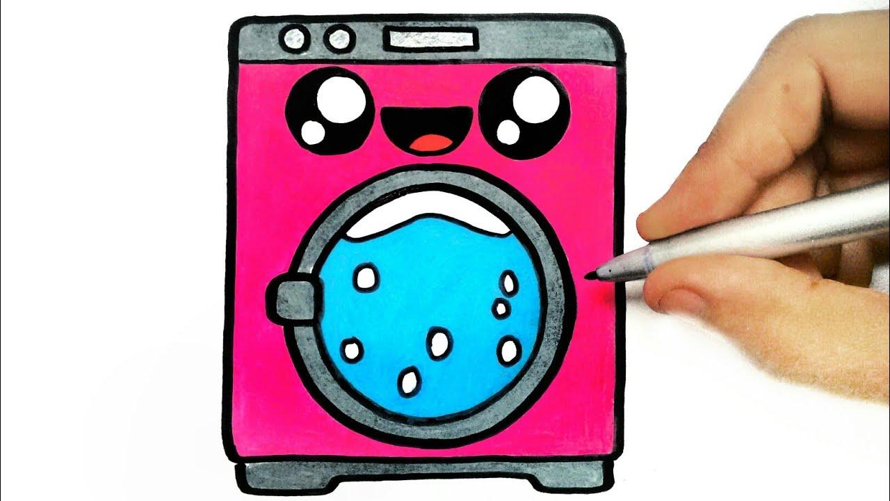 How To Draw Washing Machine Como Desenhar Uma Maquina De Lavar