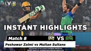 Peshawar Zalmi vs Multan Sultans | Full Match Instant Highlights | Match 8 | 26 Feb | HBL PSL 2020