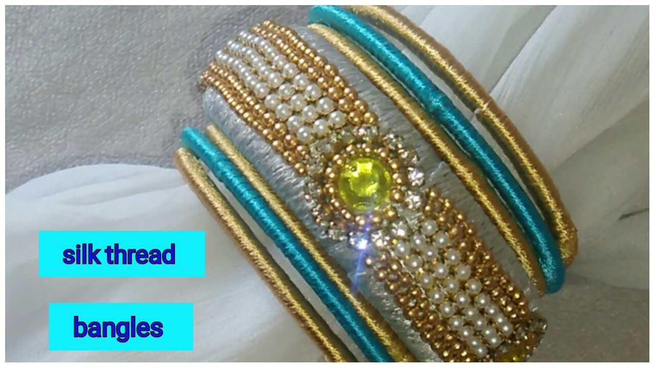 how to make pearls bangles at home//silk thread bangle making ...