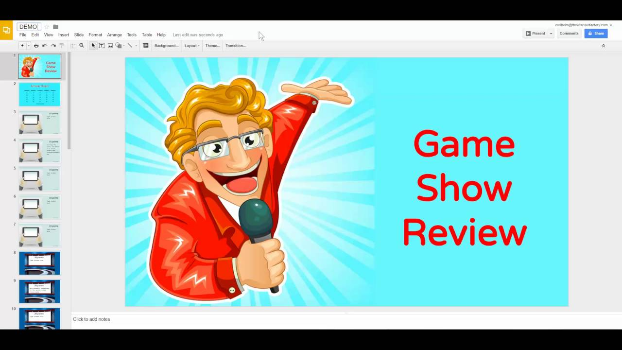 How to Edit a Template in Google Slides for a Game Show