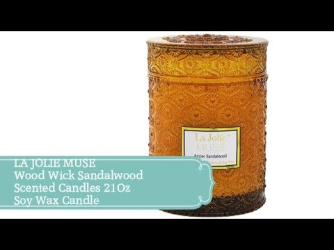 LA JOLIE MUSE Wood Wick Sandalwood Scented Candles 21Oz Soy Wax Candle