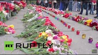 Ukraine: Floral tributes laid at Trade Union