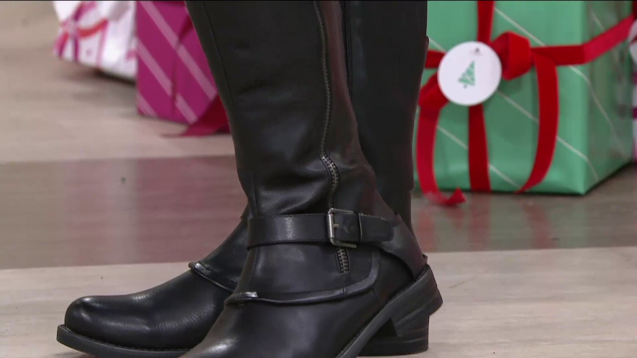 6f46337a43a BareTraps Tall Shaft Boots with Buckle Detail - Caissy on QVC - YouTube
