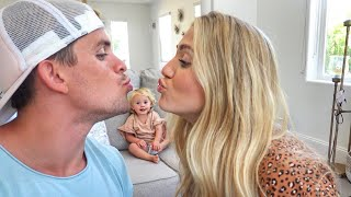 Kissing in front of our 1 year old daughter to see how she reacts... *Hilarious Reaction*