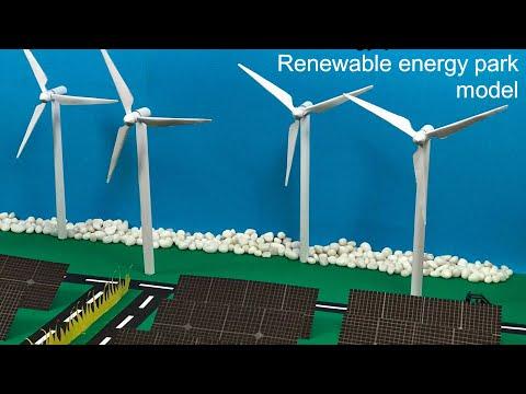 Renewable energy park model for school projects | Wind turbine paper model | Wind mill | Solar park