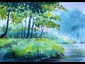 watercolor landscape painting - speed painting