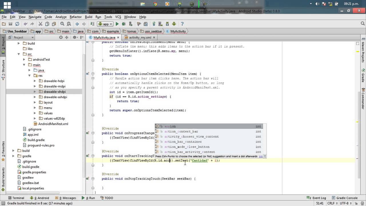 Android Studio Tutorial Español 1.6 | Ejemplo Seekbar Android ...