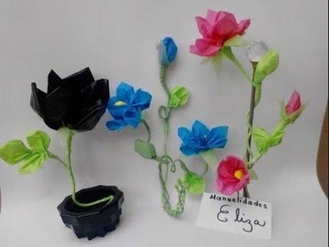 Como hacer flores con bolsas de plastico reciclaje youtube - Manualidades con vasos de plastico ...