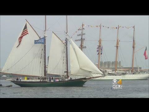 Thousands Lined Boston Harbor To See The Ships Sail In Parade