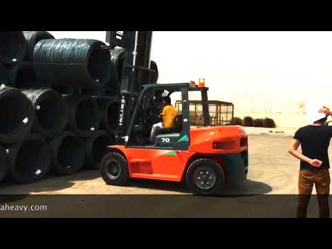 7 Ton Diesel Forklift Demo at a Steel company in UAE. www.halaheavy.com