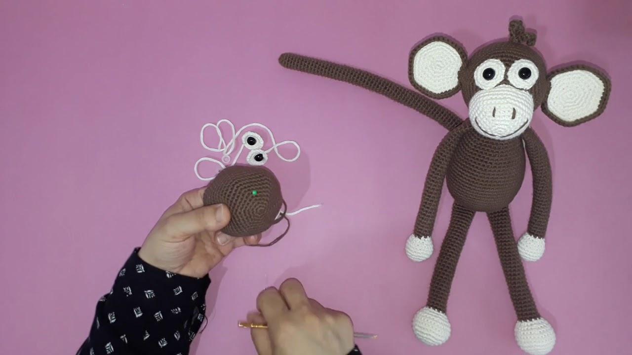 Amigurumi maymun yapımı örgü oyuncak maymun yapılışı amigurumi maymun kafa yapımı -05