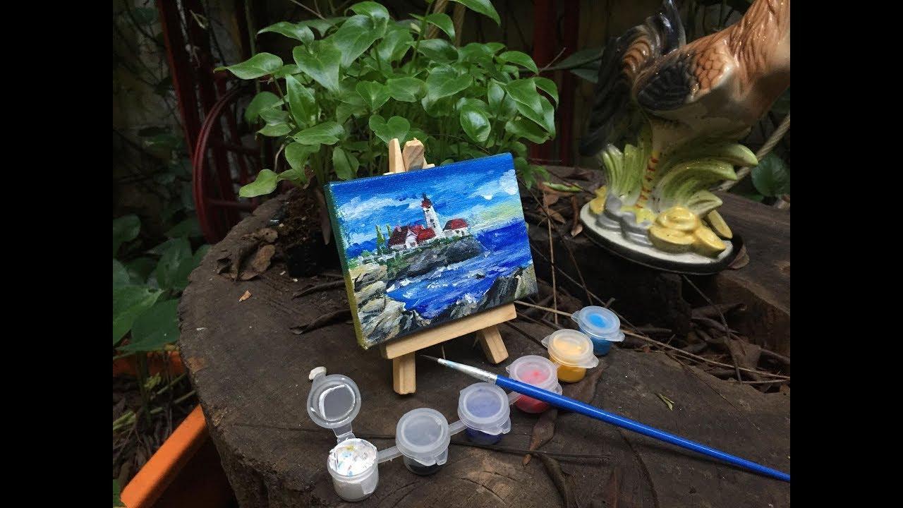 Vẽ màu Acrylic tranh mini – Đảo Cô Tô ( Mini painting set 7x9cm )