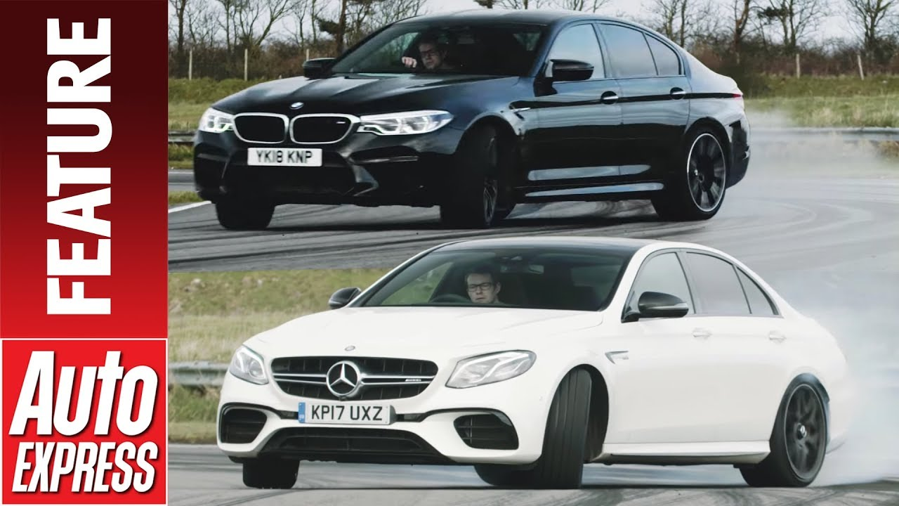 DRIFT OFF! Mercedes-AMG E 63 S takes on BMW M5 in smokey sideways challenge