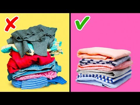 27 CLOTHES FOLDING HACKS AND WARDROBE ORGANIZATION
