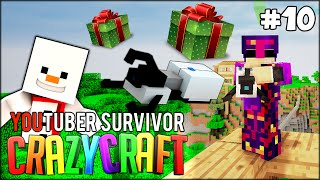BAKI IS BACK FROM HOLIDAY WITH A GIFT FOR ME!! Minecraft: Youtuber Survivor! #10 (Crazy Craft 3.0)