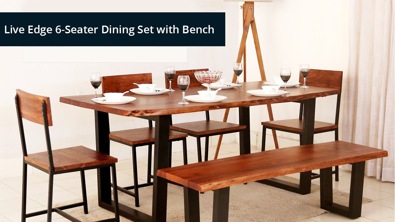 Dining Table Set Live Edge 6 Seater Dining Set With Bench Best Price Youtube