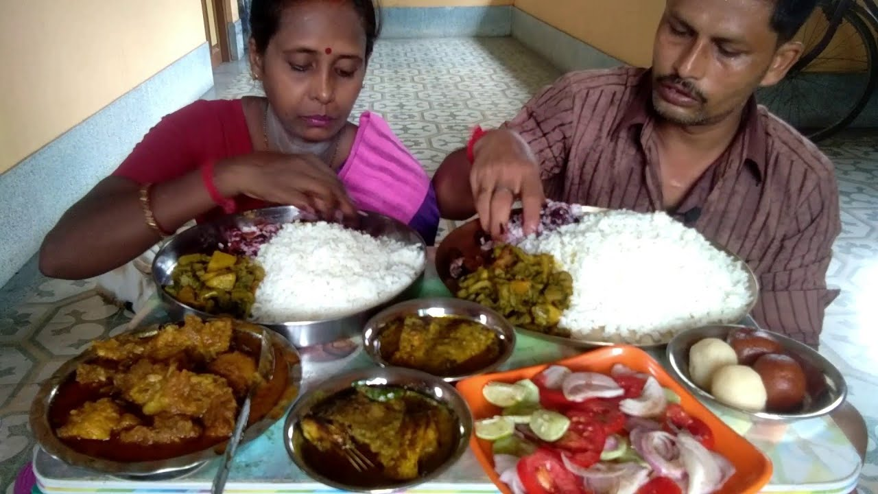 Husband Wife & Mini Eating Mutton - Ilish Fish & Shrimp Together - Indian Food Eating Show