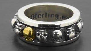 925 Sterling Silver 14K Yellow Gold Spinner Skull Spin Gothic Biker Harley Ring