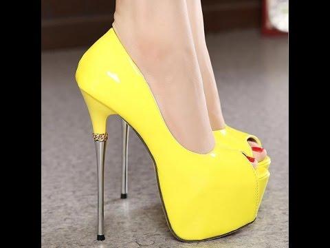 dbcbb5643c7c6 اشيك احذية كعب عالي اللون اصفر جديدة 2017 - Most Stylish High Heel Shoes  yellow color new