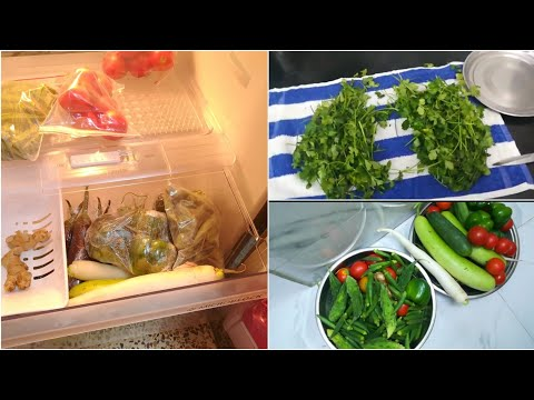 (हिंदी) How to clean and store vegetables in fridge   Store chillies & coriander